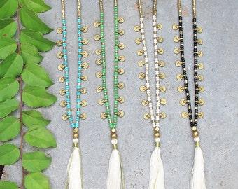 Delicate Tassel Necklace, Yoga Necklace, Turquoise Tassel Necklace, Beaded Tassel Necklace, Boho Necklace, Bohemian Necklace