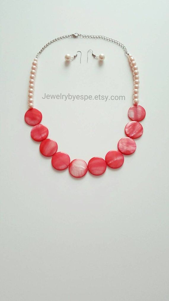 coral statement necklace light orange pearl necklace coral