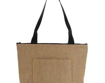 Rattan Shoulder Bag, Vegan Zipped Tote, Small Rattan Bag, Brown Purse, Spicer Bags, Textured Bag, Pocket Tote, Vegan Purse, Made in USA