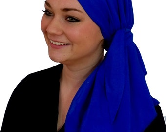 Carlee Pre-Tied Head Scarf, Women's Cancer Headwear, Chemo Scarf, Alopecia Hat, Head Wrap, Head Cover for Hair Loss - Caribbean Blue