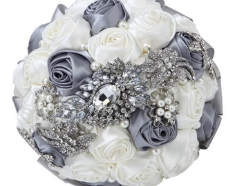 Wedding Bouquet, Bridal Bouquet - Roses Pearls Crystals (White and Silver)