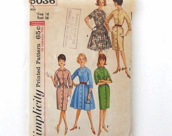 Vintage 1963 Simplicity One-Piece Dress with Two Skirts Sewing Pattern #5036 - Size 16 (bust 36)
