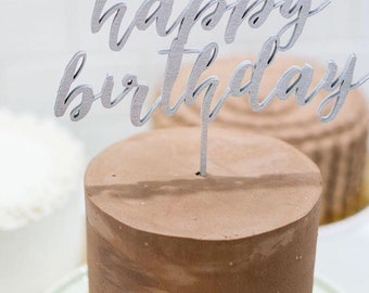Wood 'happy birthday' Cake Topper for Birthday.