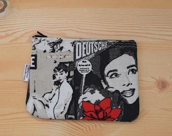 Audrey coin purse,Audrey print,Audrey hepburn,Audrey purse,Audrey printed pouch,Audrey wallet,Audrey bag,Audrey canvas,Audrey clutch