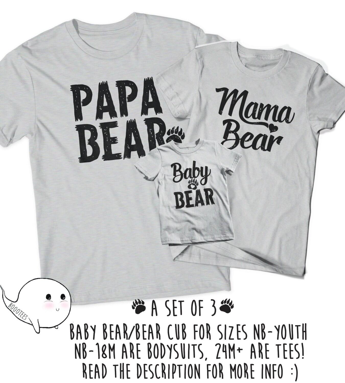 Papa Bear Baby Bear Matching: Matching Papa Bear Baby Bear Mama T-Shirts Father's Day
