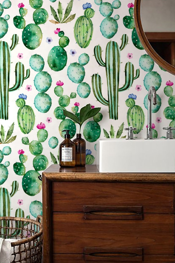 cactus print wallpaper watercolour removable wallpaper self