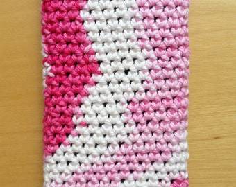 Pink and white phone sock - phone sleeve - phone cover - cell phone cover
