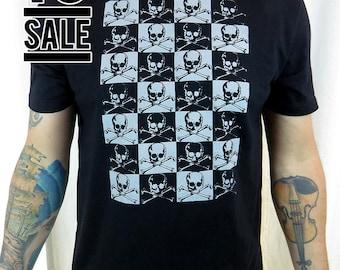 10 DOLLAR SALE---Pirate Skull Checkerboard Men's Tshirt
