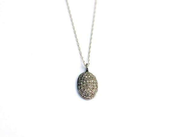 pave diamond disc pendant small diamond necklace oxidized. Black Bedroom Furniture Sets. Home Design Ideas