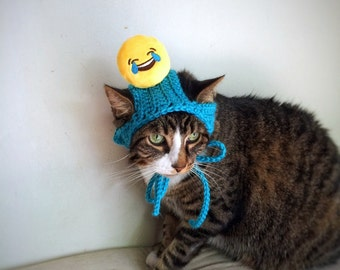 Halloween Costume Hat with Smiley Face Blue Crochet Unique Handmade Cat Dog Pet Hat