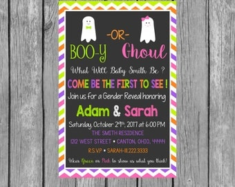 Halloween Gender Reveal Party Invitation - Boo-y or Ghoul - Fall Gender Reveal - Invitation