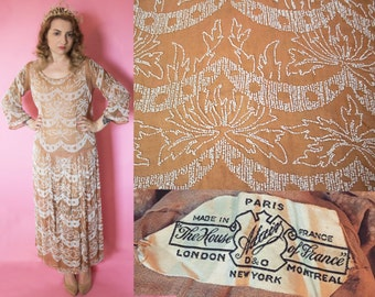 1920s Dress / 1920s Wedding Dress / 1920s Beaded Dress / House of Adair / Gatsby Flapper Drop Waist Dress / Art Deco Wedding Dress