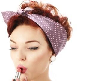 Rock Rockabilly 50s Purple Polka Dots dolly bow  headscarf