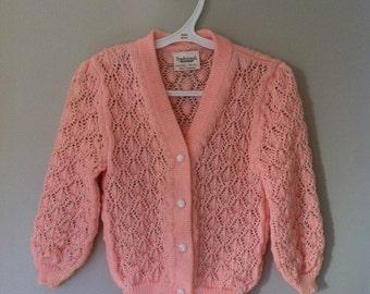 Girls Peach Sweater Cardigan Handmade Size 4T