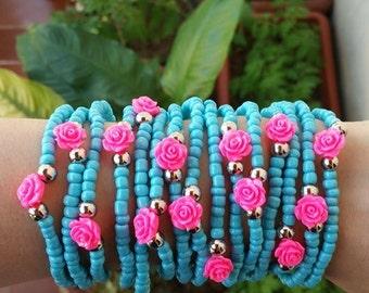 stacked bracelet - friendship bracelet - layered bracelets - stretch bracelets - Seedbead Braclet - pink roses - stack - festival jewelry