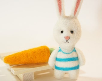 "Needle felted Bunny with carrot, Little Pocket toy, Needle felted miniature 4"" (10.5 cm)"