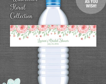 Personalized Water Bottle Label Printable, Bridal Shower, Custom, Watercolor Floral, Flowers, Bachelorette Party, Lingerie Shower, 005A