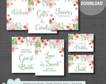 Table Display Signs Package Deal, Watercolor Floral, Baby Shower Decor, Bridal Shower Decor, Instant Download, Printable, Rustic, 005A,002A