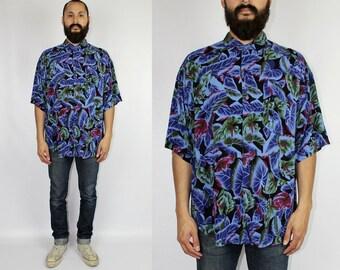 Vintage 90s Floral Rayon Short Sleeve Shirt Hawaiian Rayon Shirt Vintage Hawaiian Rayon Shirt Rayon Shirt - Large