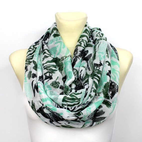 Mint Book Scarf - Circle Scarf - Printed Scarf - Boho Chic Scarf - Fabric Infinity Scarf - Fall Fashion Accessories - Gift Idea for Her