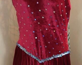 Costume Red Stretch Velour Baton Twirl Cheer Dance leotard In excellent shape Fun Sequin detail Halloween Ready