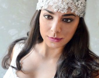 Boho Bridal Headband, Lace Headband, Wedding Headpiece, Lace hairpiece