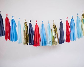 Patriotic Tassel Garland, Fourth of July Party Decor, July 4 Barbeque Decorations
