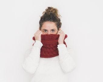 Infinity cowl, knitted cozy loop scarf, THE ABETONE GAP, winter wool knit scarf