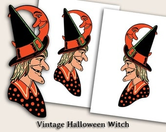 1940s Halloween Witch Decoration - Instant Digital Download - 4 Files