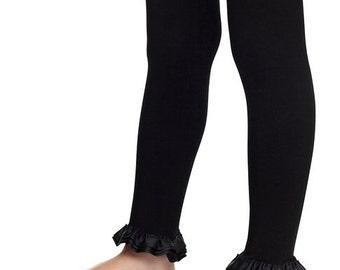 baby leggings, footless tights, girls ruffled leggings, ruffle tights, baby tights, black tights, black leggings