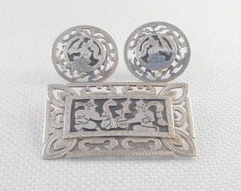 Vintage 1940's Guatemala Snake Charmer Brooch and Earrings Set 900 Silver Guatemala Snake Charmers Demi Parure