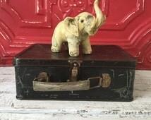 Vintage Hand Carved Elephant, Elephant Figurine, Wood Carved Elephant, Boho Chic Decor