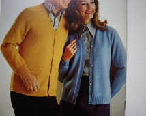 Patons 136 The Classic Look - Sweaters for Ladies and Men. - V Neck, Buttoned, Zippered - Classic Designs Beehive 136