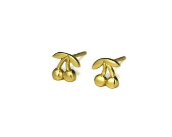 Gold Cherry Stud Earrings, Gold Cherries, Fruit Jewelry
