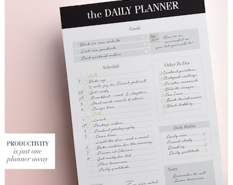 Day Planner, Daily Schedule Planner, Daily Planner Printable Page, To Do List, Day Organizer, A5 Planner Inserts, Daily Agenda, Downloadable