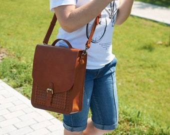 Honey brown leather backpack - Womens small backpack  - Leather shoulder bag - Leather rucksack.
