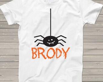 Halloween t-shirt Personalized spider shirt fall fun party tshirt boys girls ideas pumpkin patch