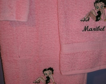 Betty Boop Side Pose Personalized Bath towel, Hand Towel  & washcloth Set ANY COLOR