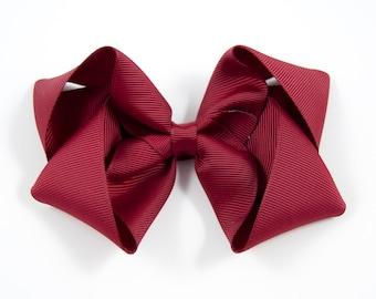 Maroon Hair Bow, Burgundy Hair Bow, Maroon Twisted Boutique Bow, Burgundy Twisted Boutique Hair Bow, Dark Red Bow (Item #10219)