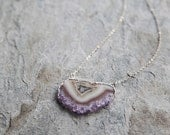 Amethyst slice sterling silver edged necklace // geode necklace