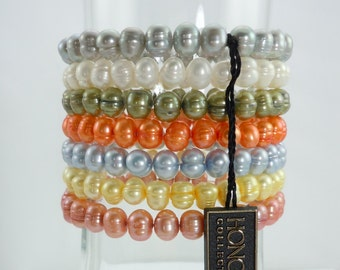 Honora Fall Collection Freshwater Pearl Stretch bracelets, 7 Single stretch bracelets, Original Pouch and Box