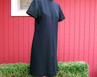 Vintage 1960s Black Dress | Bleeker Street, Jonathan Logan  | Short Sleeve Polyester Dress | Mod Sheath Dress