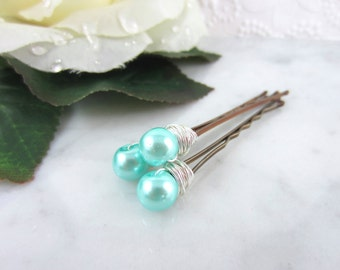 Pearl Hair Pins - Silver Pearl Hair Pins - Teal Hair Pins - Teal Pearl Hair Pins - Wedding Hair Accessories - Bridal Hair Pins