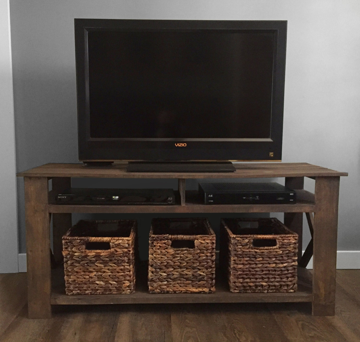 Diy Pallet Tv Stand Plans From Cahillscreative On Etsy Studio