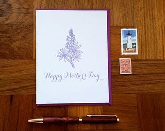 Happy Mother's Day, Flowers, Lupine, Folded Letterpress Card, Blank Inside