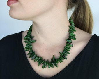 Green Chrome Diopside Exotic Natural Beautiful Genuine Rare Organic Sticks Statement Necklace with 925 Sterling Silver Chain