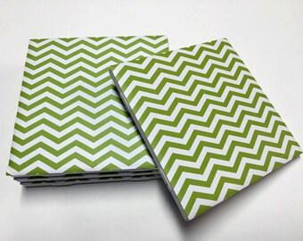 Green Chevron Coasters - Green Decor - Chevron Decor - Drink Coasters - Tile Coasters - Ceramic Coasters - Table Coasters On Sale