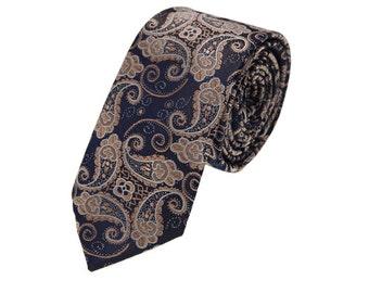Golden Paisely Necktie.Navy Ties With Golden Paisely.Wedding Tie.Vintage Neckties