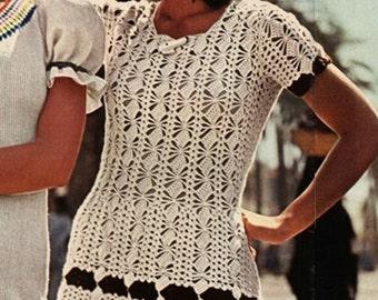 CROCHET DRESS PATTERN Vintage 70s Lace Stitch Dress Pattern Summer Crochet Dress Pattern Vintage Dress Pattern Instant Download