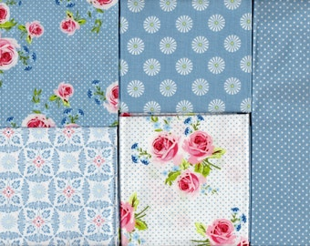 SUMMER LOFT COLLECTION, Fat Quarter Fabric Bundle with 5 Designs, Brand New